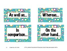 Bulletin Board Printables: Expository Text Structures-Signal Words