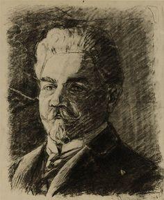 The artist's guardian (Leopold Czihaczek). Charcoal on paper, by Egon Schiele, 1906, Graphische Sammlung Albertina