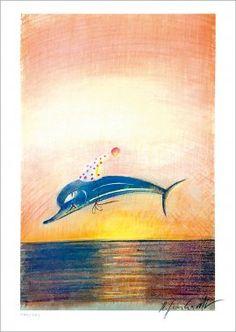 Lithografie von Robert Gernhardt »Das Meer ist tief, die Welt ist schlecht, wie ihr's auch dreht – der Wal hat recht.« Robert Gernhardt // mare.de