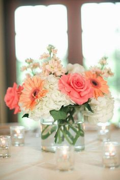 """Low"" floral centerpiece on 3 round tables (Reception) - no gerber daises, probably use more peach stock, alstroemeria, lilies?"