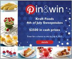 KRAFT FOODS: PINTEREST CONTEST- WIN AMEX GIFTCARDS