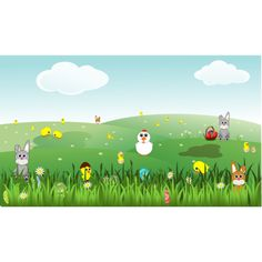 Easter Landscape with bunnies, chicks, eggs, chicken, flowers ❤ liked on Polyvore