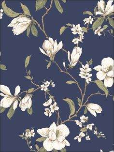 House of Hampton Gerardo L x W Magnolia Branch Wallpaper Roll Color: Navy Blue Magnolia Wallpaper, Toile Wallpaper, Wallpaper Stores, Botanical Wallpaper, Brick Wallpaper, Wallpaper Roll, Flower Wallpaper, Pattern Wallpaper, French Wallpaper