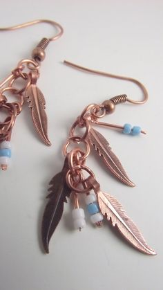 copper feather dangle earring with blue and by BigSkyBeauties, $18.00