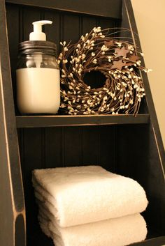 My Rustic Bath ~ Prim Shelf from Lacey's Country Home. www.LaceysCountryHome.com