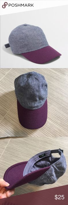 J. Crew chambray baseball cap with Purple brim J. Crew chambray baseball cap with Purple brim. NWOT. perfect condition. The brim is 65% wool. J. Crew Accessories Hats