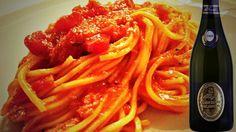 #spaghettoni con #polpadigranchio al #pomodoro  e #bollicine #grancuvée #dAraprì #vinoslow #4VITI