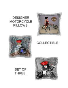 Designer throw pillows with a motorcycle theme.