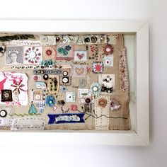 Cleaning out my studio and found one of my old stitch samplers. Instead of putting it in a drawer never to be seen again, I decided to: (1) Paint the back of a birch artist panel to make a frame, (2) Adhere the sampler with foam adhesive squares, (3) Attach a picture hanger on the back, and (4) Hang it on the wall. Ta-da! #diy #embroidery #stitchsampler #wallart