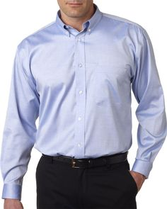 8380 UC Ammmonia Wash Pinpoint, 8380 UltraClub® Men's Non-Iron Pinpoint Shirt at Gotapparel.com.