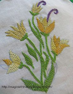 Resultado de imagem para what is herringbone stitch hand embroidery Hand Embroidery Videos, Embroidery On Clothes, Hand Embroidery Stitches, Silk Ribbon Embroidery, Embroidery Techniques, Machine Embroidery, Floral Embroidery Patterns, Embroidery Sampler, Embroidery Flowers Pattern