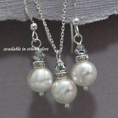 CUSTOM COLOR Sterling Silver Bridesmaid Jewelry Set, White Pearl and Silver Crystal Necklace and Earring Set, Bridesmaid Gift