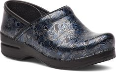The Professional Clog by Dansko in Silver/Blue Tooled Patent Leather. #danskoProfessional #Comfort #justyourfavorites #clogs #shoes #danskoclogs #dansko #silver #blue #patent