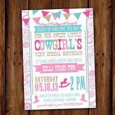 Cowgirl Invitation, Vintage Cowgirl Birthday Party Invite, Rustic ...