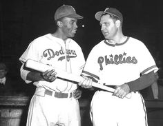 PHOTOS: Brooklyn Dodgers Jackie Robinson and Philadelphia Phillies Ben Chapman in 1947. (AP)