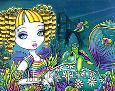 Mermaid & Fairy Art | Sandy Rainbow Mermaid Fairy Art Print by MykaJelina on Etsy