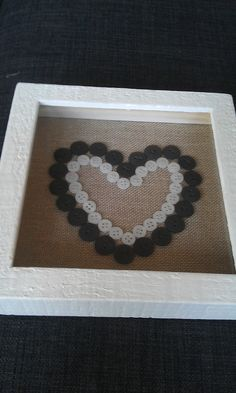 Black and White Button Heart Picture £10.00