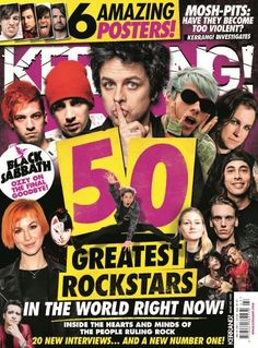 In this issue:  In this issue:  6 amazing posters  50 greatest rockstars in the world right now!  Inside the hearts and minds of the people ruling rock  20 new interviews... and a new number one!  Mosh-pits: have they become too violent? Kerrang! investigates  Black Sabbath - Ozzy on the final goodbye!