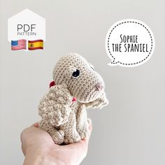 "Excited to share this item from my #etsy shop: AMIGURUMI PATTERN/ tutorial (English / Español) Amigurumi Spaniel Dog - ""Sophie the Spaniel Puppy"" pdf - US terminology Half Double Crochet, Single Crochet, Yarn Dolls, Crochet Abbreviations, Spaniel Puppies, Little Owl, Doll Eyes, Types Of Yarn, Sewing Basics"
