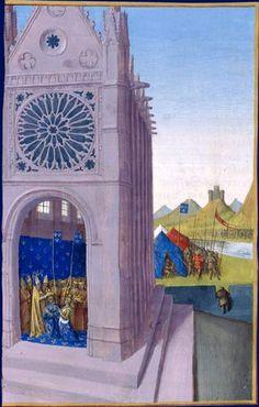 Couronnement de Louis X le Hutin - Campagne de Louis X le Hutin en Flandre. Grandes Chroniques de France, enluminées par Jean Fouquet, Tours, vers 1455-1460 Paris, BnF. Couronnement de Louis X le Hutin: À Reims, le 24 août 1315, Louis X le Hutin et Clémence de Hongrie sont couronnés par l'archevêque Robert de Courtenay en présence des prélats et des pairs du royaume. Campagne de Louis X le Hutin en Flandre (en arrière-plan à droite): Lors de l'expédition menée contre le comte Robert de…