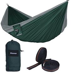 Great Camping Hammock : iHomor Double Camping Hammock Outdoor Parachute Camping Hammock Lightweight and Compact w 9ft Outfitters Atlas Strap dark greeniHomor Double Camping Hammock Outdoor Parachute Camping Hammock Lightweight and Compact w 9ft Outfitters Atlas Strap dark green ** Read more  at the image link. Note:It is Affiliate Link to Amazon. #MostComfortableHammock
