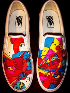 Peter Max Vans - I want lottsa original slip-on style VANS, but none more than these! ~~~ Hand Painted Peter Max Shoes on Etsy Painted Canvas Shoes, Canvas Slip On Shoes, Women's Slip On Shoes, Painted Clothes, New Shoes, Vans Shoes, Custom Vans, Custom Shoes, Peter Max Art