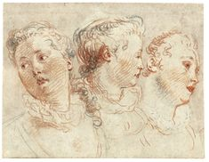 View Three studies of the head of a woman by Jean-Antoine Watteau on artnet. Browse upcoming and past auction lots by Jean-Antoine Watteau. Face Illustration, Illustrations, Line Drawing, Drawing Sketches, Jean Antoine Watteau, Unique Drawings, Pastel Portraits, Jean Baptiste, Vintage Drawing