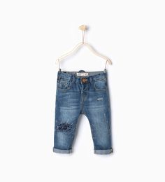 Image 1 of Five pocket jeans from Zara Ss16, Baby Boy Fashion, Kids Fashion, Patched Jeans, Girl Bottoms, Shoes With Jeans, Boys Jeans, Denim Fashion, Girl Outfits