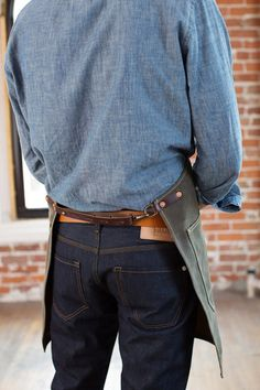 Olive Waxed Canvas Artisan Apron w/ Brown Leather от ArtifactBags