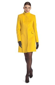 Coat with geometric dividing seams 'Metina' - Yellow Formal Coats from HUGO for Women in the official HUGO BOSS Online Store free shipping Formal Coat, Cashmere Coat, City Chic, Winter Wear, Hugo Boss, Wool Blend, High Neck Dress, Feminine, Coats