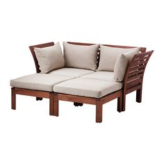 IKEA - ÄPPLARÖ / HÅLLÖ, Loveseat with 2 footstools, outdoor, brown stained/beige, , By combining different seating sections you can create a sofa in a shape and size that perfectly suits your outdoor space.The cushion has a longer life because it can be turned over and used on both sides.The cover is easy to keep clean because it is removable and machine washable.You can make your sofa even more comfortable and add a personal touch by complementing with loose pillows in different sizes and…