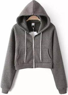 Sudadera Crop con capucha manga larga-gris 19.69