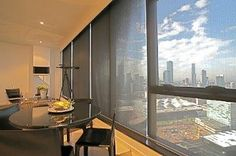 Our Roller Blinds create no interference for the spectacular views of this high rise Melbourne apartment.  97 Rosamond Road in Maribyrnong, VIC