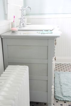 Bow front Dresser made into  Bathroom Vanity