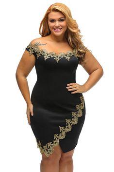 7cf4eb4265b Gold Lace Applique Off Shoulder Dress
