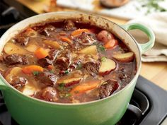 Serves 8 3 Tbsp olive oil 2 lb cubed beef stew meat 1 med onion, diced 3 cloves garlic, minced 12 oz beer (pale lager) 3 c beef broth 2 Tbsp tomato paste 1 Tbsp Worcestershire sauce 1 tsp sugar tsp paprika 8 new potatoes diameter), quartered 4 … Slow Cooker Recipes, Crockpot Recipes, Soup Recipes, Dinner Recipes, Cooking Recipes, Healthy Recipes, Cooking Beef, Delicious Recipes, Easy Recipes