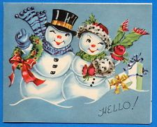 Happy Snowman Couple w,/ Presents - 1950 Vintage Christmas Greeting Card