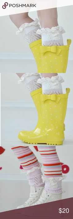 Little lucy ivory lace boot cuffs These darling boot cuffs are perfect for your little girl to wear in rainboots or any other type of boot. Let her rock them with her sneakers, too! The elastic cuff ensures that they stay on. The feminine cuffs have been embellished with cream lace and ivory buttons. *Ivory color only*  Fits ages 3-10  Prices are firm. Bundle 2 or more items to receive 10% off your purchase.   All images are used with permission from the vendor. Please do not use these…