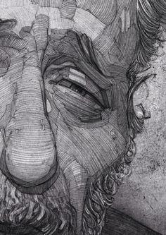 Charles Bukowski illustration portrait by Stavros Damos, via Behance