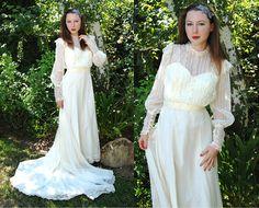 Vintage 1970s Ivory Organza & Lace Victorian Train Wedding Gown 1 by mondas66, via Flickr