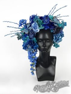 #headdress #headpiece #blueflowers #flowercrown #butterflies #missgdesigns