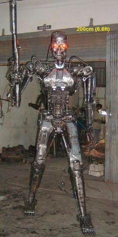terminator endoskeleton, life size scrap metal art sculpture