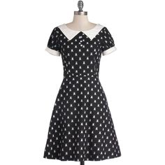 Bea & Dot Critters Mid-length Short Sleeves A-line What'll It Beetle?... ($36) ❤ liked on Polyvore featuring dresses, modcloth, black, apparel, classic dress, black slip, a line dress, collar dress, cotton slip dress and cotton dress