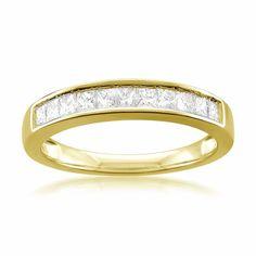 Montebello 14k Gold 1/2ct TDW Certified Princess-cut Diamond Wedding Ring