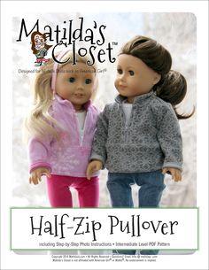 Matilda's Closet Half-Zip Pullover Doll Clothes Pattern 18 inch American Girl Dolls | Pixie Faire