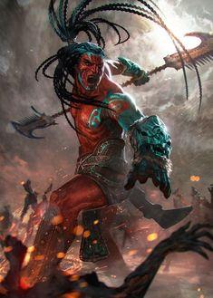 Tribal warrior with buff Fantasy World, Dark Fantasy, Fantasy Kunst, Fantasy Art, Aztecas Art, Tribal Warrior, Aztec Culture, Chicano Art, Fantasy Warrior