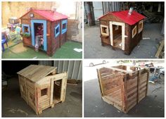 Pallets Old The idea was to build a small playhouse for the kids, using nothing but old pallets. The final house is … - The idea was to build a small playhouse for the kids, using nothing but old pallets. The final house is … Pallet Playhouse, Pallet Shed, Build A Playhouse, Pallet House, Pallets Garden, Old Pallets, Recycled Pallets, Wooden Pallets, Pallet Tree Houses