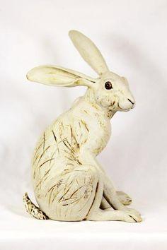 Hare sculpture, white ceramic. Pippa Hill animal sculpture