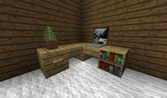 This is a cute thing to make ôwô I like the computer Minecraft Horse, Modern Minecraft Houses, Minecraft Plans, Minecraft Tutorial, Minecraft Architecture, Minecraft Blueprints, Minecraft Creations, Minecraft Buildings, Minecraft Decorations