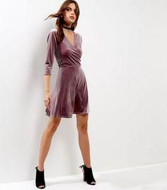 Mid Pink Velvet Wrap Front Dress | New Look
